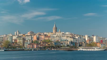 boynuzları : Beyoglu district historic architecture and Galata tower medieval landmark timelapse in Istanbul, Turkey