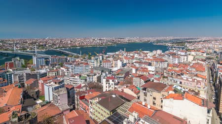 isztambul : The view from Galata Tower to Galata Bridge timelapse Golden Horn, Istanbul, Turkey Stock mozgókép