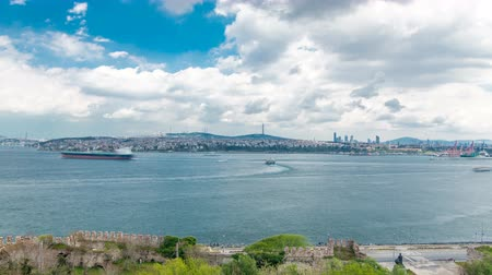 water rail : Istanbul and Bosphorus view from the Topkapi Palace timelapse. View of downtown. Travel Turkey