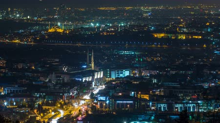 noc : Istanbul classical night skyline scenery timelapse, view over Bosporus channel.