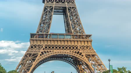 observation deck : Close up view of first section of the Eiffel Tower timelapse in Paris, France. Stock Footage