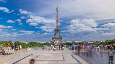 parisian : Famous square Trocadero with Eiffel tower in the background timelapse hyperlapse.