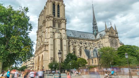 Notre-Dame de Paris timelapse, a medieval Catholic cathedral on the Cite Island in Paris, France