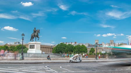 neuf : The equestrian statue of Henry IV by Pont Neuf timelapse, Paris, France.
