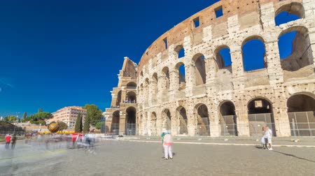 flavian : The Colosseum or Coliseum timelapse hyperlapse, also known as the Flavian Amphitheatre in Rome, Italy Stock Footage
