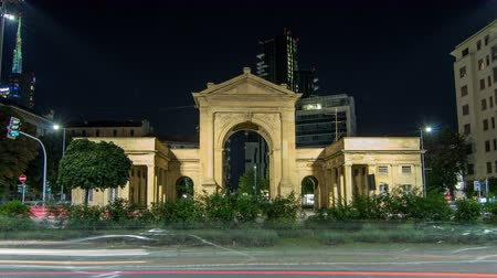 arch of triumph : The Porta Nuova city gates night timelapse hyperlapse in Milan Italy