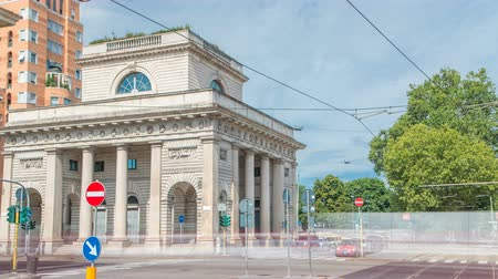 milan : A street view of beautiful historic landmark - Porta Venezia timelapse Stock Footage