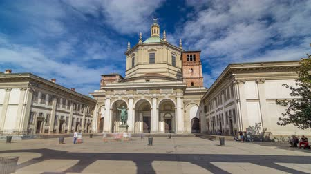 constantine : Facade of San Lorenzo Maggiore Basilica timelapse hyperlapse and statue of Constantine emperror in front. Stock Footage