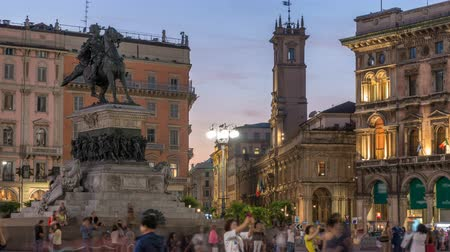 emanuele : Piazza del Duomo day to night timelapse with Monument to Victor Emmanuel II. Milan, Italy