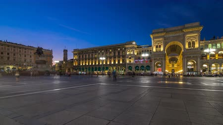 victor : Monument to Vittorio Emanuele II and Galleria Vittorio Emanuele II day to night timelapse on the Piazza del Duomo