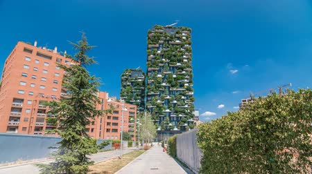 garibaldi : Bosco Verticale or Vertical Forest timelapse hyperlapse. It is a pair of two residential towers in the district of Porta Nuova, Milan