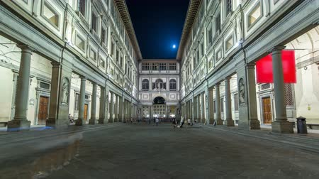 diminishing : Uffizi Gallery timelapse hyperlapse. It is prominent art museum located adjacent to Piazza della Signoria Stock Footage