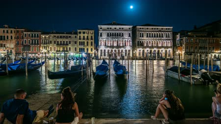 venezia : The magnificent Palazzo Balbi overlooking the Grand Canal in Venice night timelapse. Stock Footage