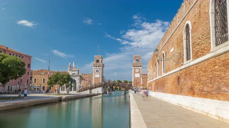 munitions : Entrance to the Arsenale timelapse hyperlapse, Venice, Veneto, Itlay Stock Footage
