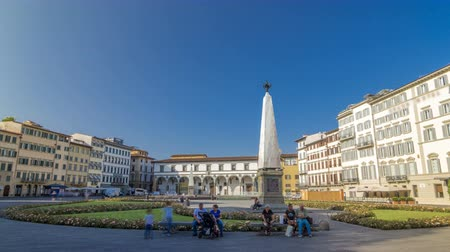 santamaria : View of Public Square of Santa Maria Novella timelapse hyperlapse - one of the more important public squares in Florence. Stock Footage