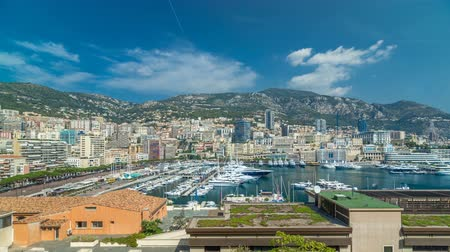seçkinler : Monte Carlo city aerial panorama timelapse hyperlapse. View of luxury yachts and apartments in harbor of Monaco, Cote dAzur.