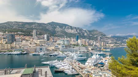 príncipe : Monte Carlo city aerial panorama timelapse. View of luxury yachts and apartments in harbor of Monaco, Cote dAzur.