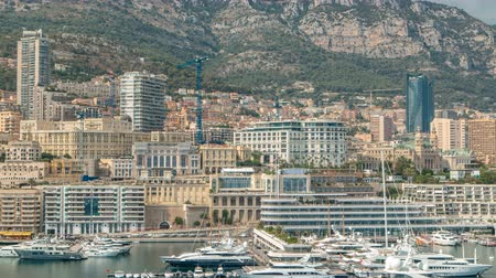 лазурный : Monte Carlo city aerial panorama timelapse. View of luxury yachts and buildings in harbor of Monaco, Cote dAzur.