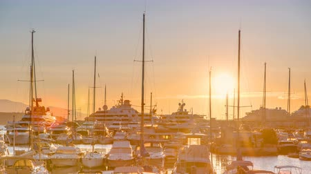 menton : Beautiful sunrise over the harbor in Monaco timelapse.