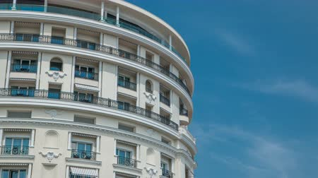 wall building feature : Monte Carlo with the view on the top facade of luxury Hotel de Paris timelapse, Monaco.