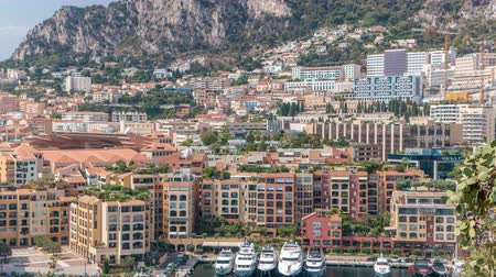 seçkinler : Panoramic view of Fontvieille timelapse - new district of Monaco. Stok Video