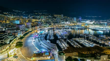 vzorec : Panorama of Monte Carlo timelapse at night from the observation deck in the village of Monaco with Port Hercules Dostupné videozáznamy