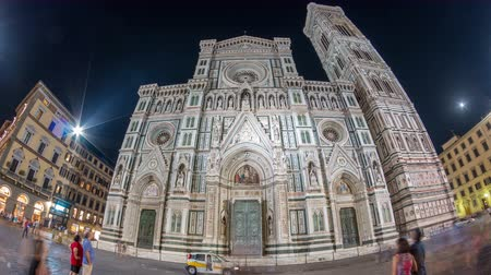 florence : Basilica di Santa Maria del Fiore in Florence at night timelapse