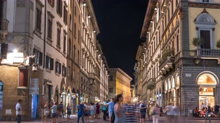 picturesque view : Cozy narrow street in Florence timelapse, Tuscany, Italy. Night Florence cityscape Stock Footage