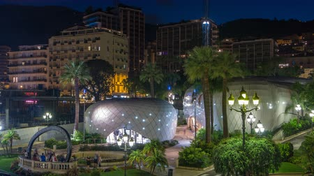 monarchy : The gardens of Monte Carlo night timelapse from top Stock Footage