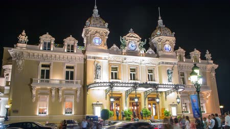 prestiž : Grand Casino in Monte Carlo night timelapse, Monaco. historical building