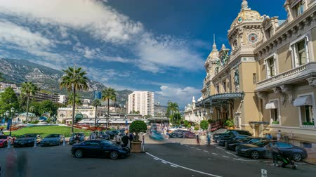 palace complex : Grand Casino in Monte Carlo timelapse, Monaco. historical building