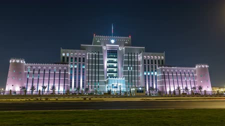 poczta : The Ministry of Interior in Doha night timelapse. Doha, Qatar, Middle East