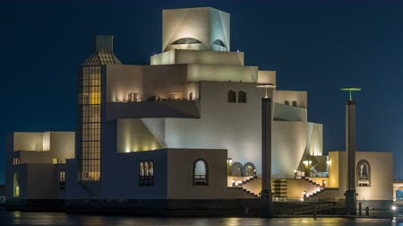 corniche : Beautiful Museum of Islamic Art night timelapse in Doha, Qatar.