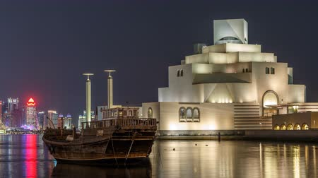 mia : Beautiful Museum of Islamic Art night timelapse in Doha, Qatar.
