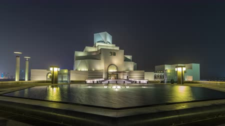 mia : Beautiful Museum of Islamic Art night timelapse hyperlapse in Doha, Qatar. Stock Footage