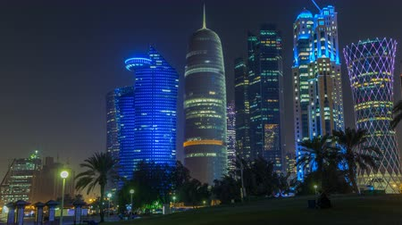 bank tower : The high-rise district of Doha night timelapse