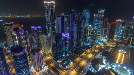 arábie : The skyline of the West Bay area from top in Doha timelapse, Qatar. Dostupné videozáznamy