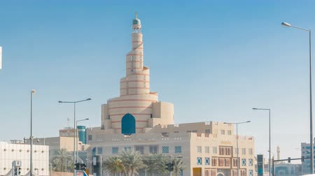 mosque doha : Qatar Islamic Cultural Centre timelapse in Doha, Qatar, Middle-East.
