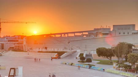 east pearl : Amphitheater in Katara cultural village with sunset timelapse, Doha Qatar