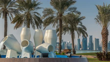 corniche : View of the water pots fountain landmark timelapse on the Corniche in Doha