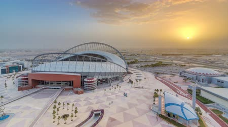 aspire : Aerial view of Aspire Zone stadium from at sunrise timelapse in Doha