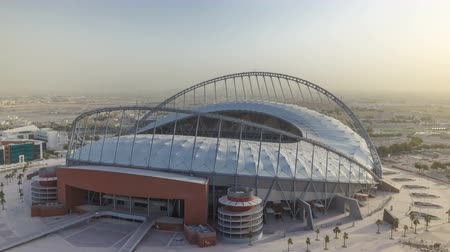 aspire : Aerial view of Aspire Zone stadium from at morning timelapse in Doha