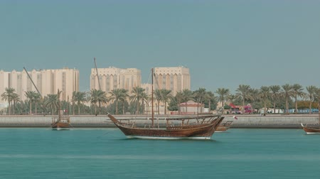mia : Dhows moored off Museum Park timelapse in central Doha