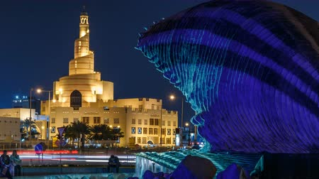 hilâl : Qatar Islamic Cultural Centre night timelapse in Doha, Qatar, Middle-East. Stok Video