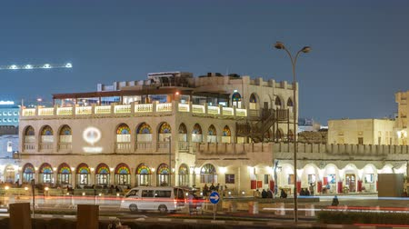 porters : Souq Waqif night timelapse in Doha, Qatar. Stock Footage