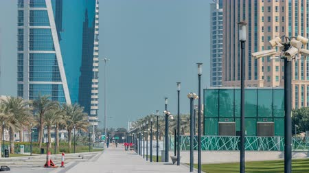 water feature : The high-rise district of Doha with walkway timelapse