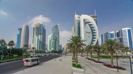 water feature : The high-rise district of Doha with traffic on intersection timelapse hyperlapse Stock Footage