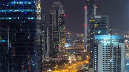 prestiž : Dubai business bay towers night timelapse aerial