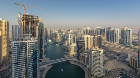 metropolitní : Amazing colorful dubai marina skyline during sunset timelapse
