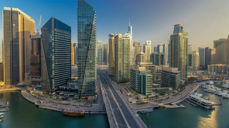 metropolitano : Amazing colorful dubai marina skyline during sunset timelapse